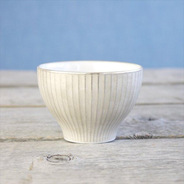 画像1: 有田焼/伊万里陶芸/WA・SA・BI 和茶美-しのぎ煎茶碗/銀/Φ8.4X5.4 (1)