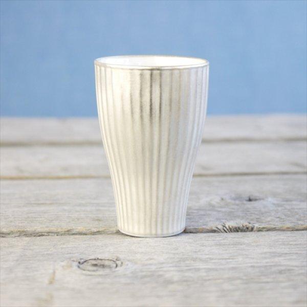 画像1: 有田焼/伊万里陶芸/WA・SA・BI 和茶美-しのぎ立小煎茶碗/銀/Φ5.5X8.3 (1)