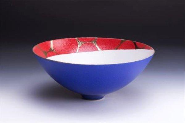 画像1: 清水焼(京焼)/小川宣之/LUCEAT/ボウル(特大)/青×赤 水玉紋 (1)