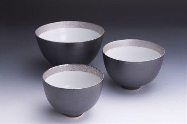 画像1: 清水焼(京焼)/小川宣之/LUCEAT/マルチボウルセット/黒×銀 無地 (1)