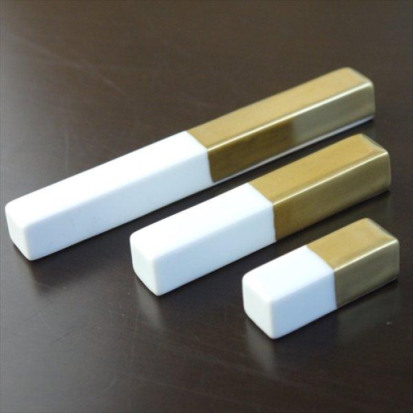 画像1: 有田焼/福珠窯/カトラリーレスト(大)/白磁金彩/10.8cm (1)