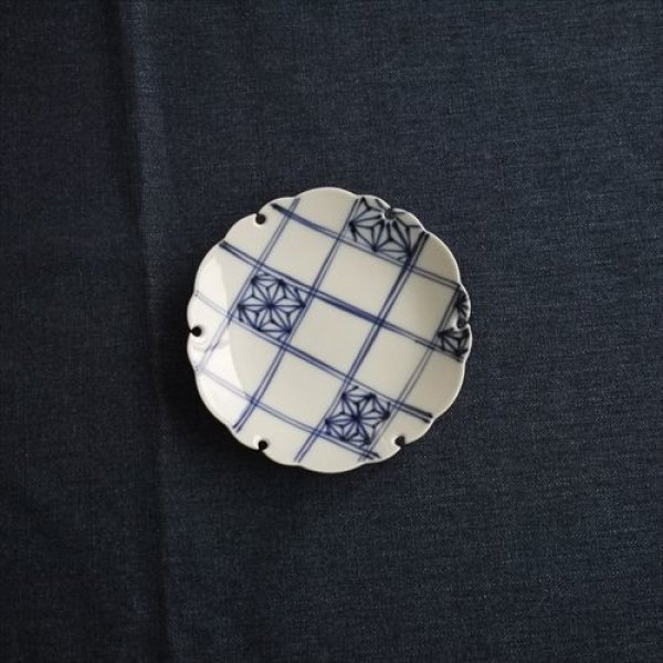 画像1: 有田焼/草山窯/雪輪5寸銘々皿 麻紋/Φ15 (1)