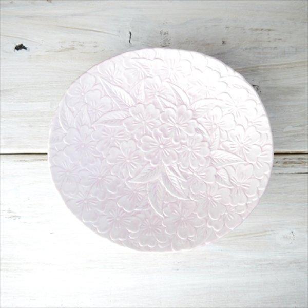 画像1: 有田焼/金照堂/桜彫り小皿/プレシャスピンク/16.5x15.5 X H3 (1)