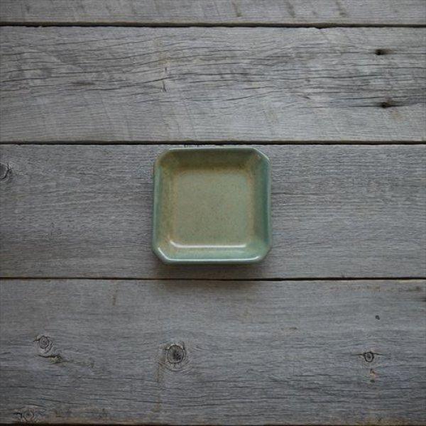 画像1: 益子焼/伝統工芸士/大塚雅淑/角皿(小) 緑/Φ12X12 (1)