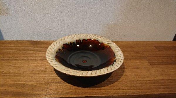 画像1: 丹波立杭焼/省三窯/アメ釉楕円鉢 (1)