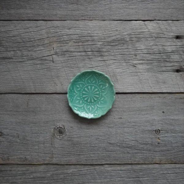 画像1: 京焼/黒川正樹/蒼釉花紋豆皿/Φ9.5 X H1.5 (1)