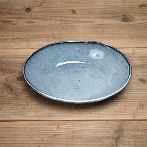 画像1: 萩焼/松光山栄光/青釉 カレー皿・大/Φ24X17.5XH5.5 (1)