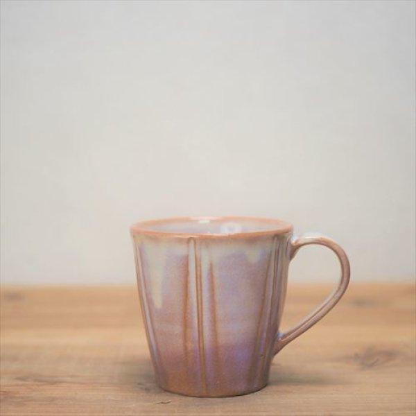 画像1: 萩焼/松光山栄光/粉引紫 しのぎマグカップ/Φ8.8XH8.5 (1)