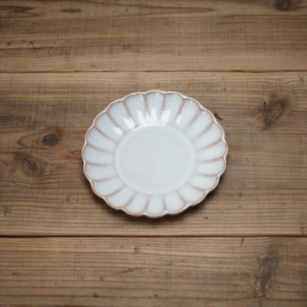 画像1: 萩焼/松光山栄光/白釉 5寸菊花皿/Φ15.4XH2.7 (1)