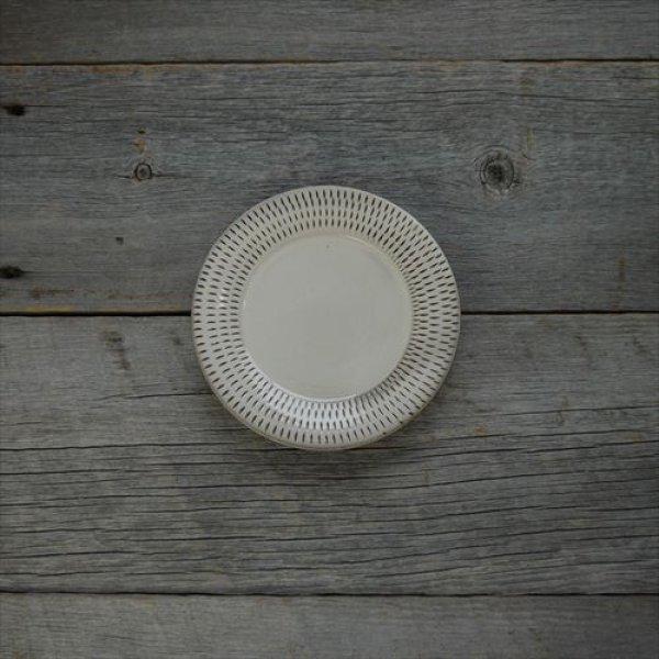 画像1: 小石原焼/カネハ窯/4.5寸洋平皿飛鉋縁リム飛び鉋/Φ14 (1)