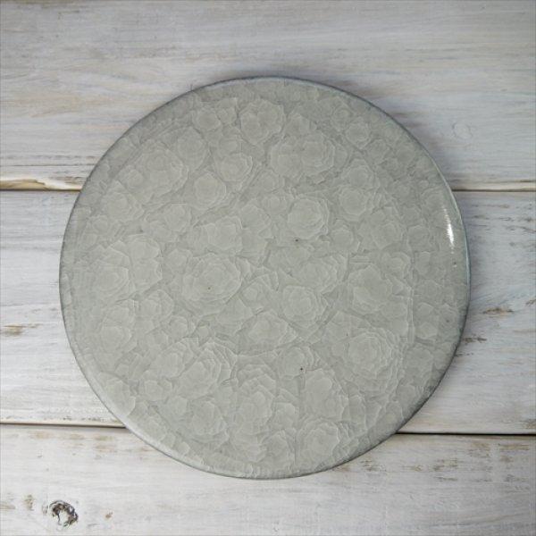 画像1: 瀬戸焼/柳本美帆/氷裂貫入八寸フラットプレート/ホワイト/Φ24 (1)