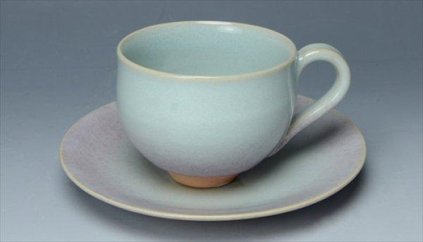 画像1: 京焼・清水焼/HiBiKi/大日窯/月白/珈琲碗皿/碗Φ8×H6.5皿Φ14.5×H2 (1)