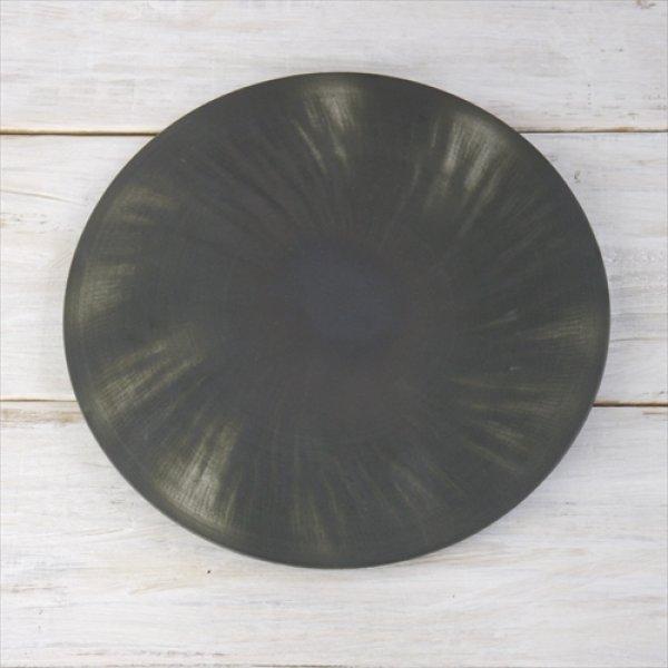 画像1: 有田焼/李荘窯/APB ブラックホール 26cm捻りプレート/黒/Φ26 X H1cm (1)