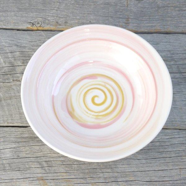 画像1: 多治見/北川和喜/水のカタチ「渦」リムプレート/ピンク/Φ19.5 X H4.2 (1)