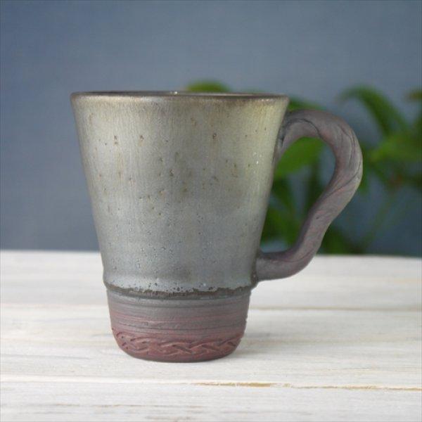 画像1: 陶房かんな/Driftwood Style Handle Mug(大)/黒/Φ9 X H11 (1)