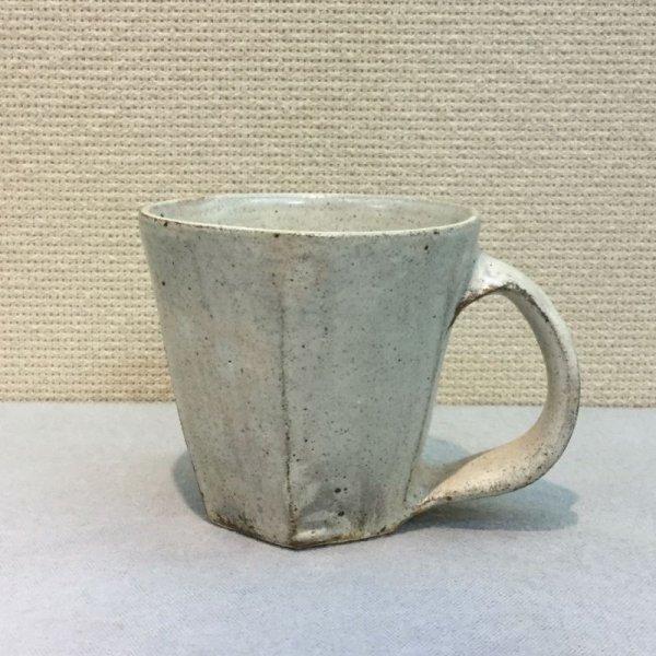 画像1: 陶じゃみん/粉引き面取りマグカップ  Φ10 X H9.0(取っ手部12) (1)