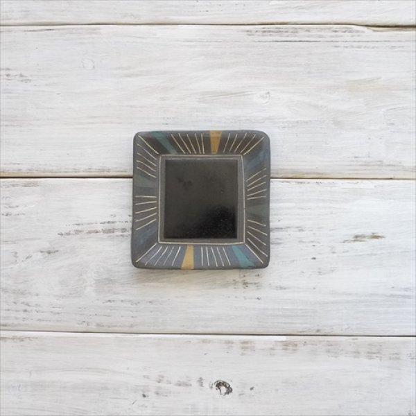 画像1: 丹波焼/悟窯 /スクウェアプレート 線象嵌(小)/W12cm H1.5cm (1)