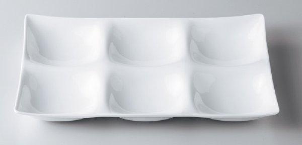 画像1: 美濃焼/白磁/コワケ kowake 6つ仕切り皿/25.7×17.1×2.9 (1)