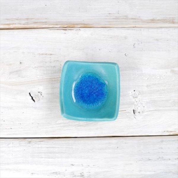 画像1: 笠間焼/あじさい工房/トルコ青四角豆皿/ブルー/Φ7×H2 (1)