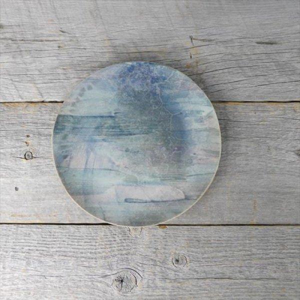 画像1: 笠間焼/あじさい工房/燻し銀彩フラットプレート(大)/ブルー/Φ19 X H1.5 (1)