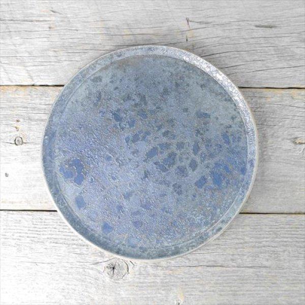 画像1: 笠間焼/あじさい工房/燻し銀彩フラットプレート26cm/ブルー/Φ26 X H1.5 (1)