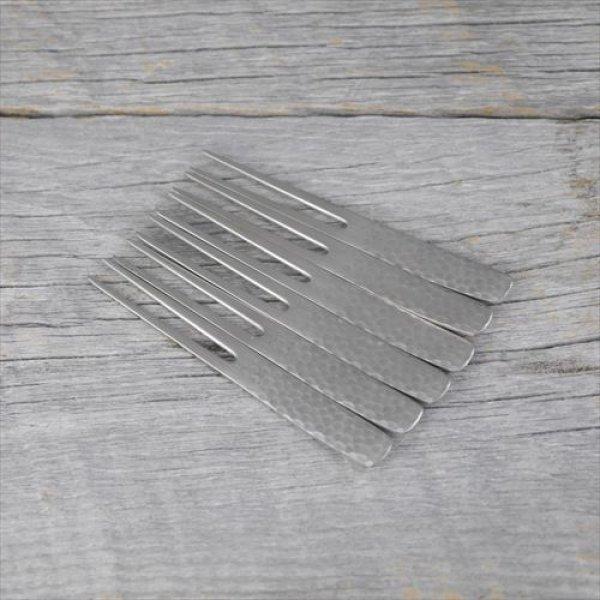 画像1: 燕/トーダイ/かんざしピックフォーク【6本セット】/シルバー槌目/9cm (1)